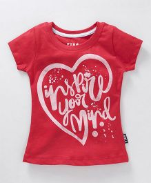 Fido Half Sleeves Tee Text & Heart Print - Red