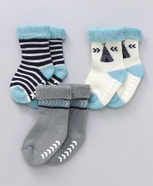 Hudson Baby Printed Socks Pair if 3 - Blue and grey