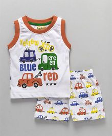 Olio Kids Sleeveless T-Shirt And Shorts Car Patch - White Orange