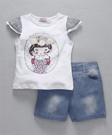 Domeiland Girl Print Tee & Pant Set - White & Blue
