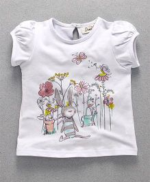 Domeiland Flower Pint Girls Top - White