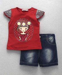 Domeiland Girl Print Tee & Pant Set - Red & Blue