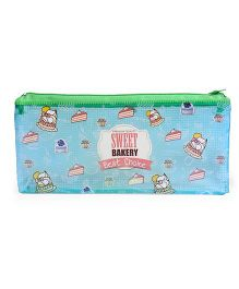 Cake Print Pen Pouch - Green Blue