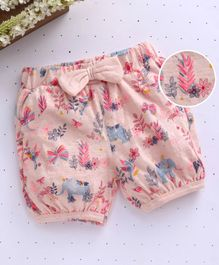 Babyhug Floral Print Shorts - Light Pink