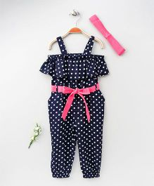 Lilpicks Couture Polka Print Off Shoulder Jumpsuit With Headband - Blue