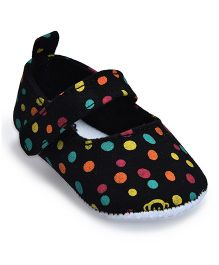 Kiwi Polka & Monkey Print Velcro Closure Bellies - Black