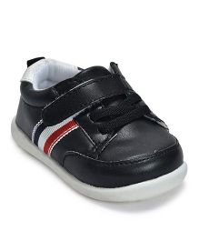 Kiwi Velcro with Side Stripes Slip-On Shoes - Black