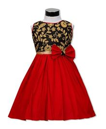 The Kidshop Lily Magnolia Flower Design Party Dress - Black & Red