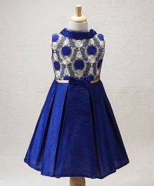 The Kidshop Lovely Garden Phlox Flower Box Pleats Party Dress - Royal Blue