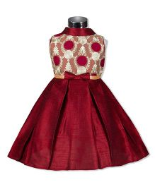 The Kidshop Lovely Garden Phlox Flower Box Pleats Party Dress - Maroon