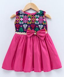 The Kidshop Traditional Embroidery Design Party Dress - Pink
