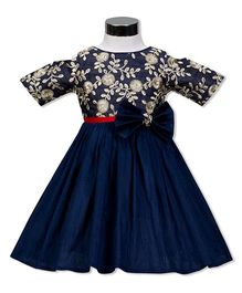 The Kidshop Daisy Flowers Party Wear Dress - Navy Blue
