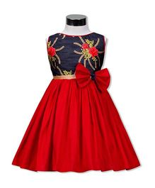 The Kidshop Floral Design Party Wear Dress - Red & Navy Blue