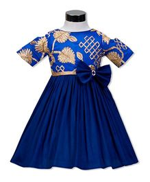 The Kidshop Polynesia Flower & Leaf Pattern Dress - Royal Blue