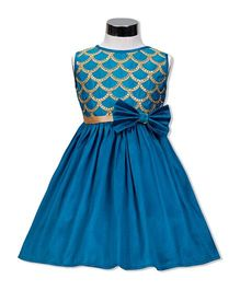 The Kidshop Embroidered Party Dress - Turquoise Blue
