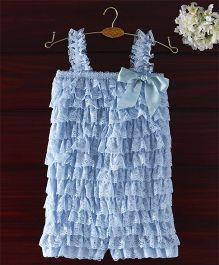 The Kidshop Frilly Lace Romper - Light Blue