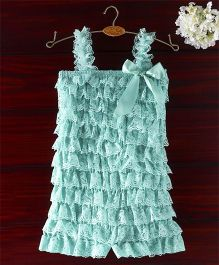 The Kidshop Frilly Lace Romper - Turquoise Blue