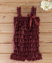 The Kidshop Frilly Lace Romper - Wine
