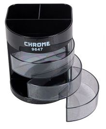 Chrome Pen Holder With Front Small Drawers - Black