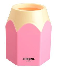 Chrome Pencil Shaped Pen Holder - Pink