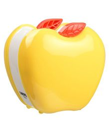 Chrome Apple Shaped Pen Holder - Yellow