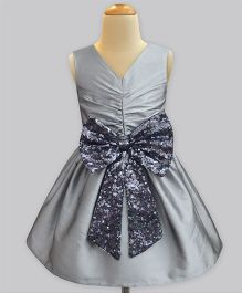 A.T.U.N Sequins Bow Party Dress - Silver