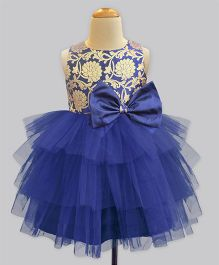 A.T.U.N Brocade Keyhole Dress - Blue