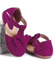 Cute Walk by Babyhug Party Wear Belly Shoes Bow Applique - Purple