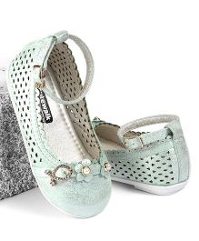 Cute Walk by Babyhug Belly Shoes Pearl Studded Floral Motifs - Light Green