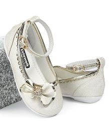 Cute Walk by Babyhug Belly Shoes Studded Bow Applique - White