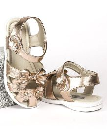 Cute Walk by Babyhug Party Wear Sandal Floral & Bow Applique - Golden
