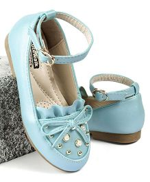 Cute Walk by Babyhug Party Wear Belly Shoes Bow Applique - Blue