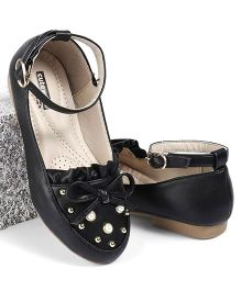 Cute Walk by Babyhug Party Wear Belly Shoes Bow Applique - Black