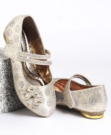Cute Walk by Babyhug Party Wear Belly Shoes Diamond Studded Floral Motif - Cream