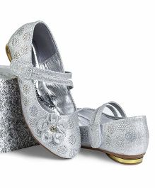 Cute Walk by Babyhug Party Wear Belly Shoes Diamond Studded Floral Motif - Silver