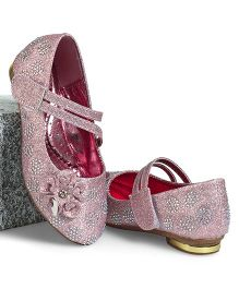 Cute Walk by Babyhug Party Wear Belly Shoes Diamond Studded Floral Motif - Pink