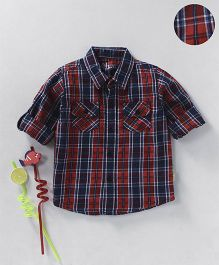 GJ Baby Full Sleeves Shirt Checks Pattern With Pockets - Maroon Navy