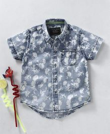 Gini & Jony Half Sleeves Denim Shirt Floral Print - Grey