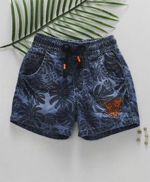 Palm Tree Denim Shorts With Drawstring Leaf Print - Blue