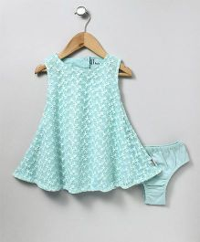 GJ Baby Sleeveless Party Wear Frock With Bloomer Floral Embroidery - Teal Blue