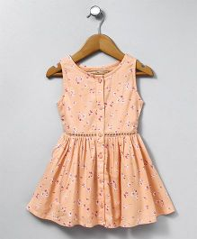 Palm Tree Sleeveless Frock Allover Floral Print - Peach