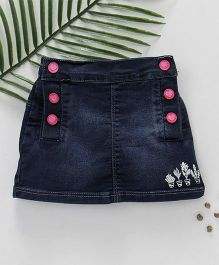 Palm Tree Denim Skirt DX Wash Pattern - Navy Blue