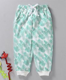 GJ Baby Full Length Lounge Pant With Drawstring Leaf Print - Green