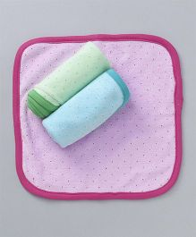 Pink Rabbit Cotton Hand & Face Towels  Dotted  Pack of 3 - Pink Blue Green