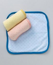 Pink Rabbit Cotton Hand & Face Towels Dotted Pack of 3 - Peach Blue Yellow