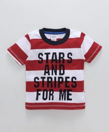 Simply Half Sleeves Stripe T-Shirt Text Print - Red White