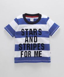 Simply Half Sleeves Stripe T-Shirt And Text Print - Blue White