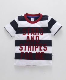 Simply Half Sleeves Stripe T-Shirt And Text Print - Black White
