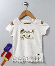 Vitamins Cold Shoulder Tee Beach Rules Print - White