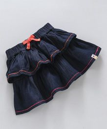 Vitamins Denim Skirt Layer Pattern - Navy Blue